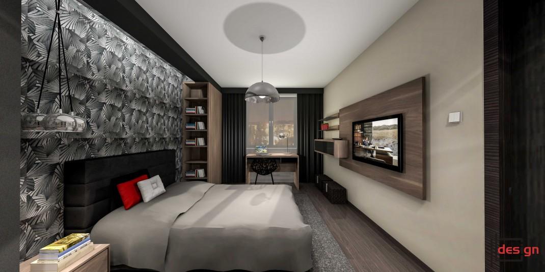 Pokój z tapetą na jednej ścianie