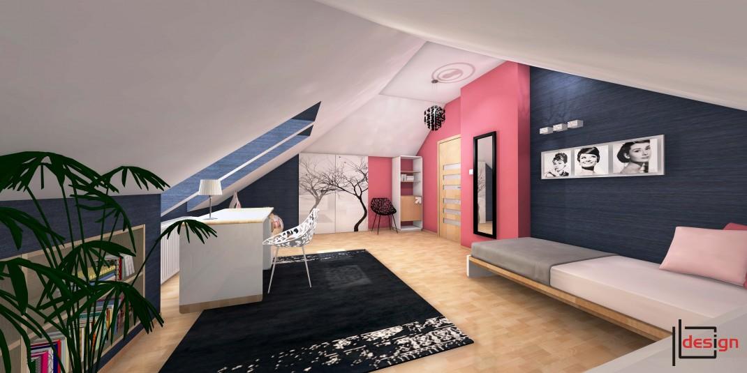 Pokój z różowym akcentem