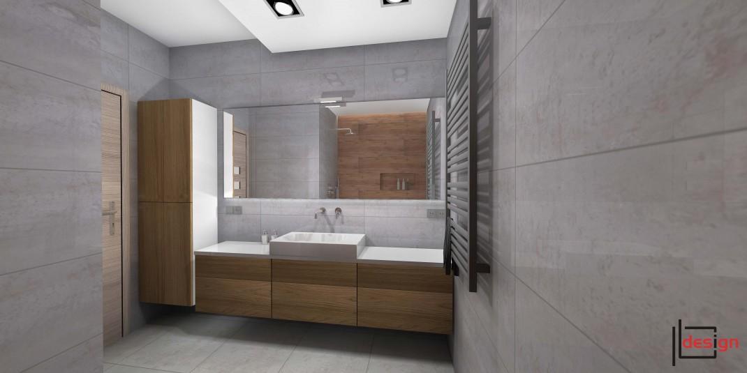 Łazienka z dużym lustrem