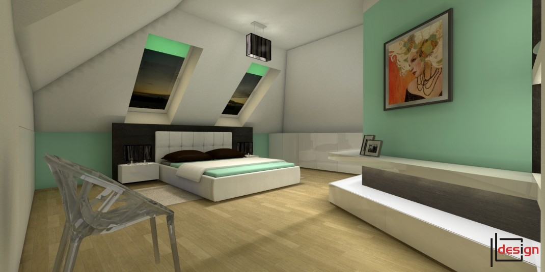 Modna sypialnia na poddaszu