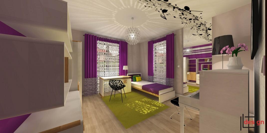 Fioletowy pokój dla nastolatki