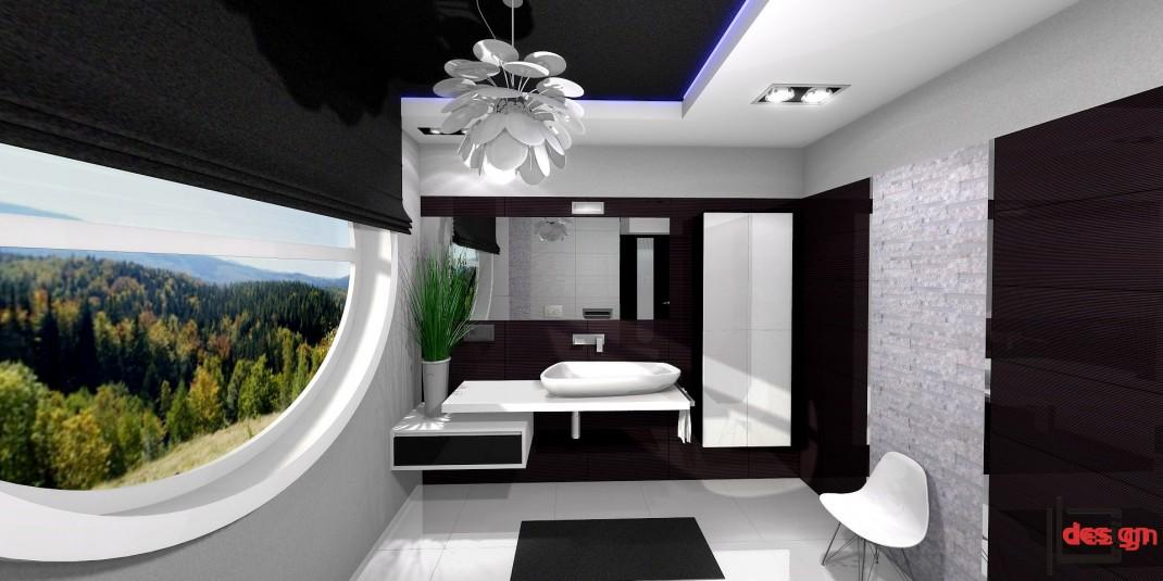 Okrągłe okno w łazience