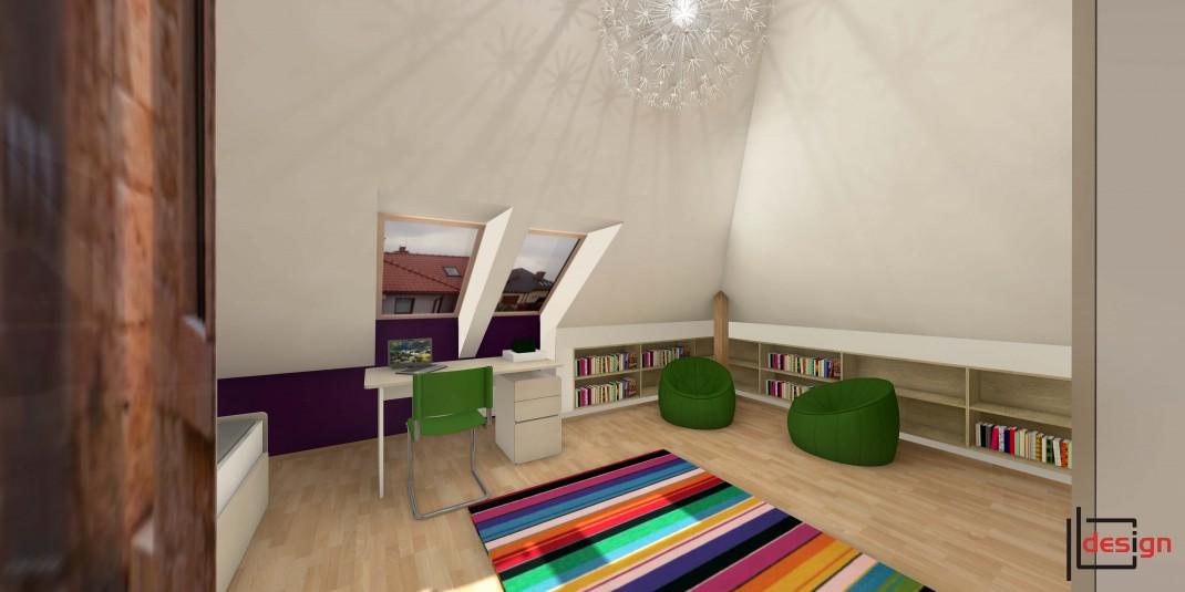 Pokój z kolorowym dywanem