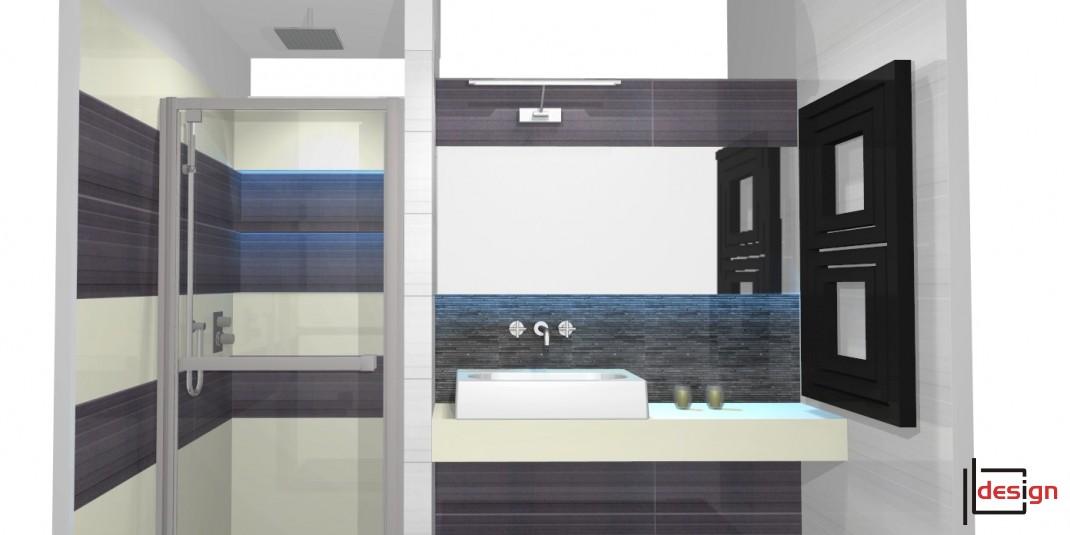 Łazienka z niebieskim podświetleniem