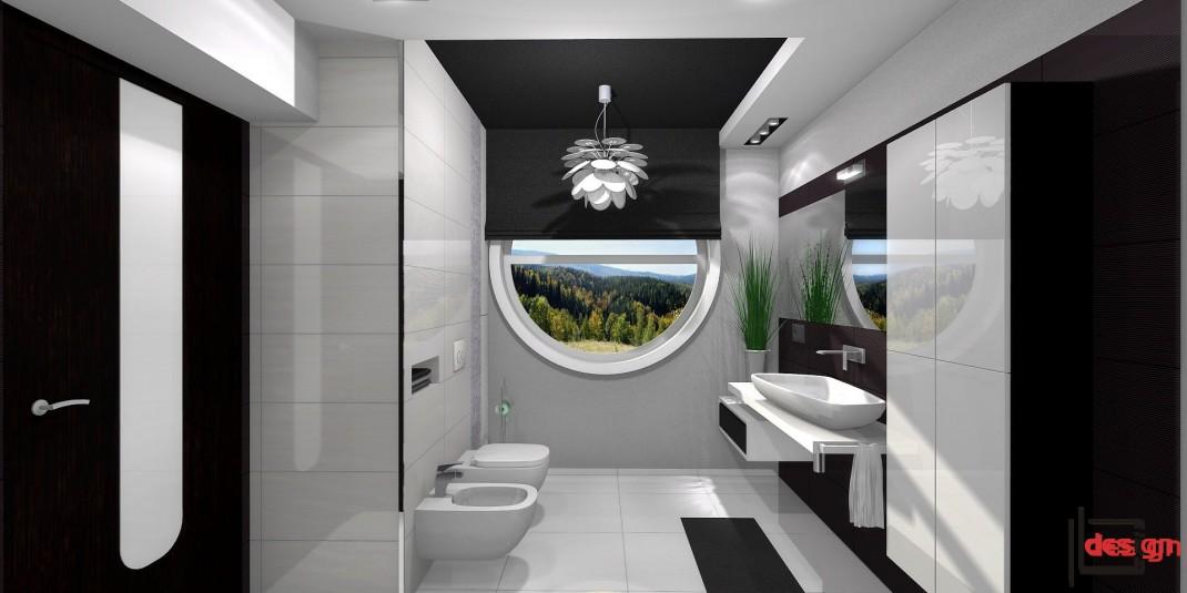 Łazienka z okrągłym oknem