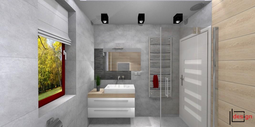 Wizualizacja szarej łazienki