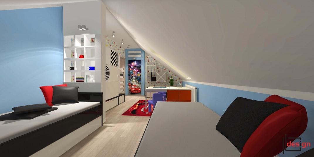 Kolorowy pokój dziecięcy na poddaszu