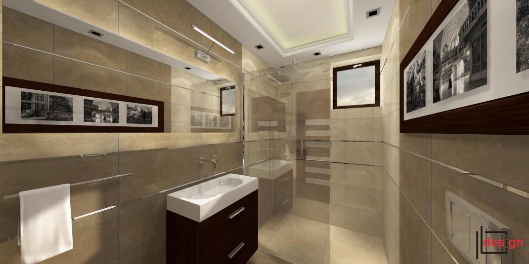 Wąska łazienka z prysznicem