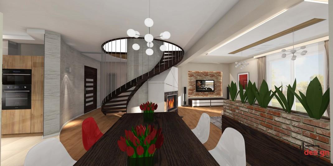 Schody spiralne w salonie