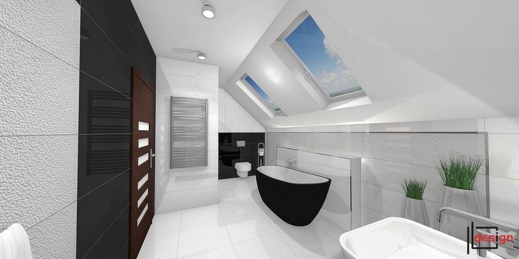 Projekt łazienki z oknami dachowymi