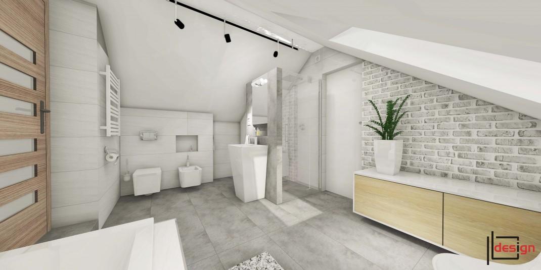 Łazienka na poddaszu z cegłą