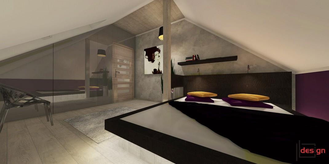Sypialnia na poddaszu z dużym lustrem