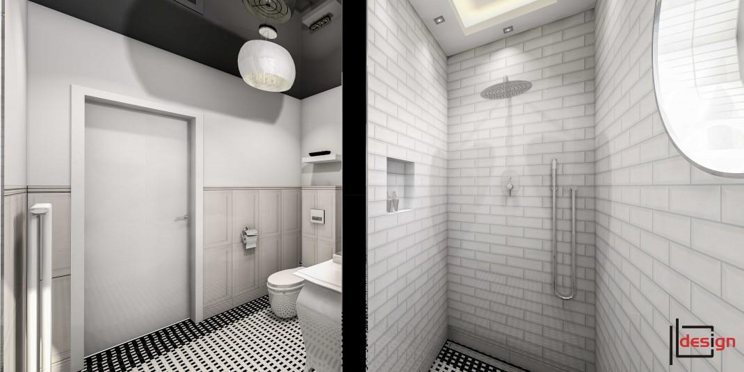 Biała łazienka z cegłą