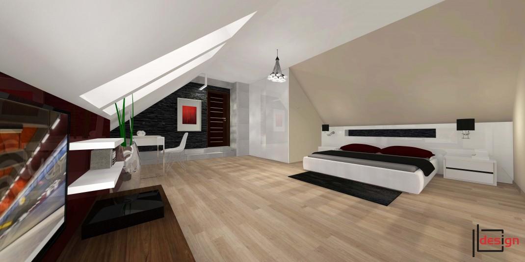 Duża sypialnia na poddaszu