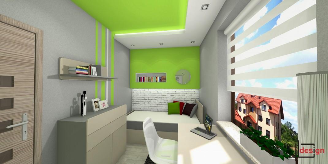 Pokój z dodatkami zieleni