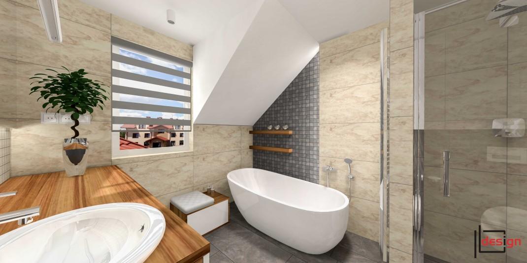 Stylowa łazienka z wanną i prysznicem