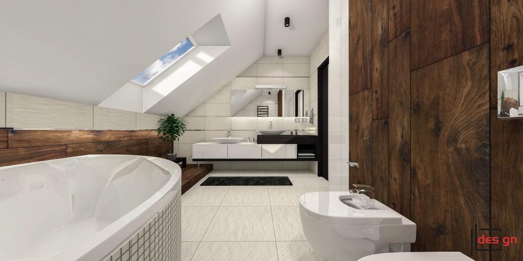 Duża łazienka na poddaszu