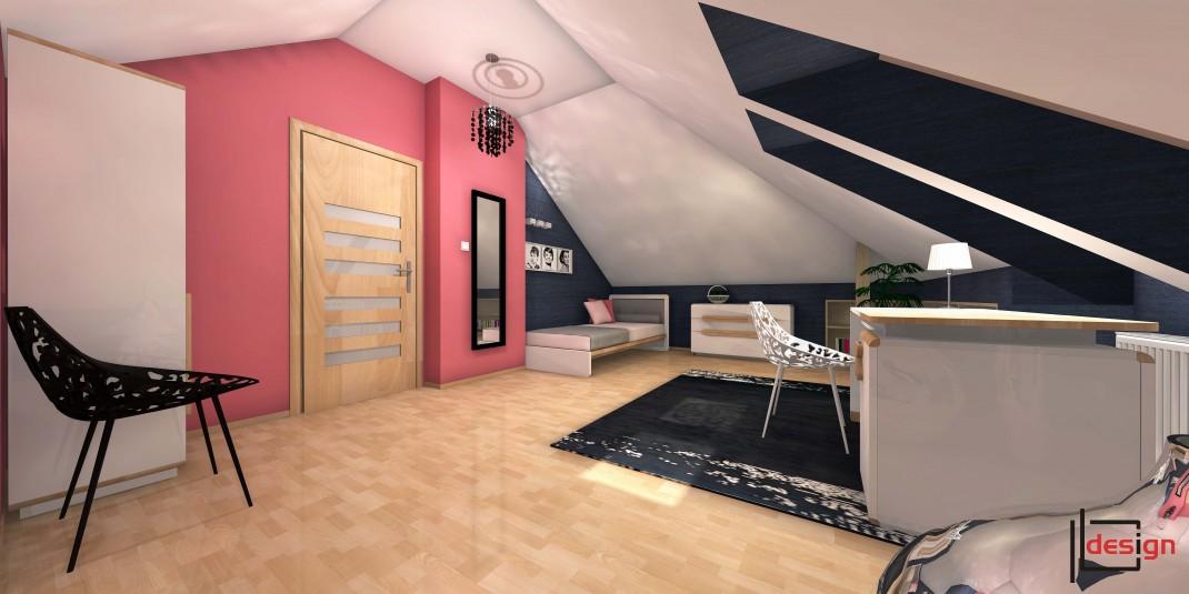 Duży pokój na poddaszu