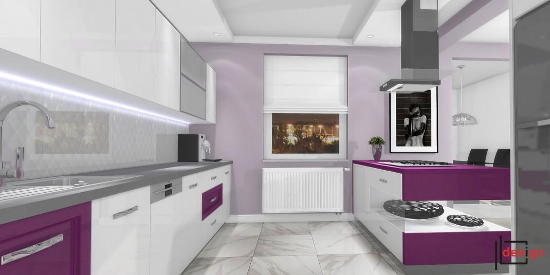 Biało fioletowa kuchnia