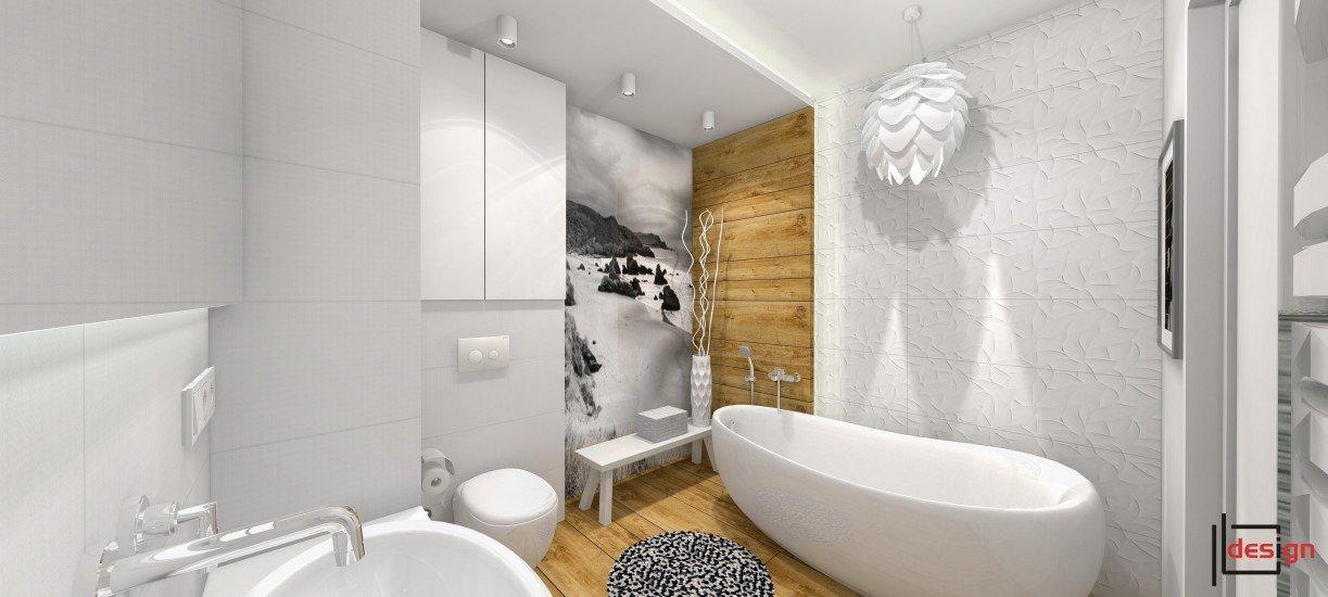 Łazienka biała z drewnem II