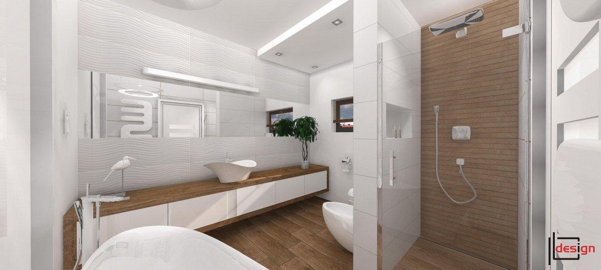 Łazienka biała z drewnem